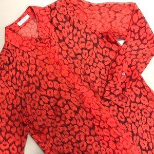 Equipment Button Down Shirt Leopard Print Red XS